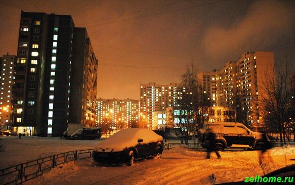 зеленоград фото - Ночной зимний 14 микрорайон.